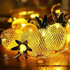 Elfeland LED Indoor String Lights, 7.2FT Pineapple Globe String Light, Battery Powered Fairy Lighting for Home Wedding Party Bedroom Birthday Decoration - Warm White, 20 LED, Metal