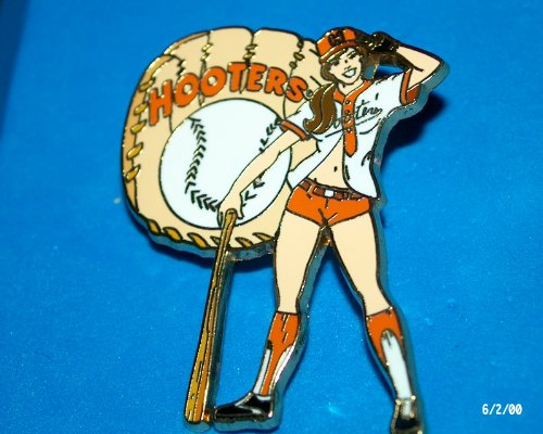 - Hooters Restaurant Collectable Enamel Girl Baseball Glove and Bat Lapel Pin
