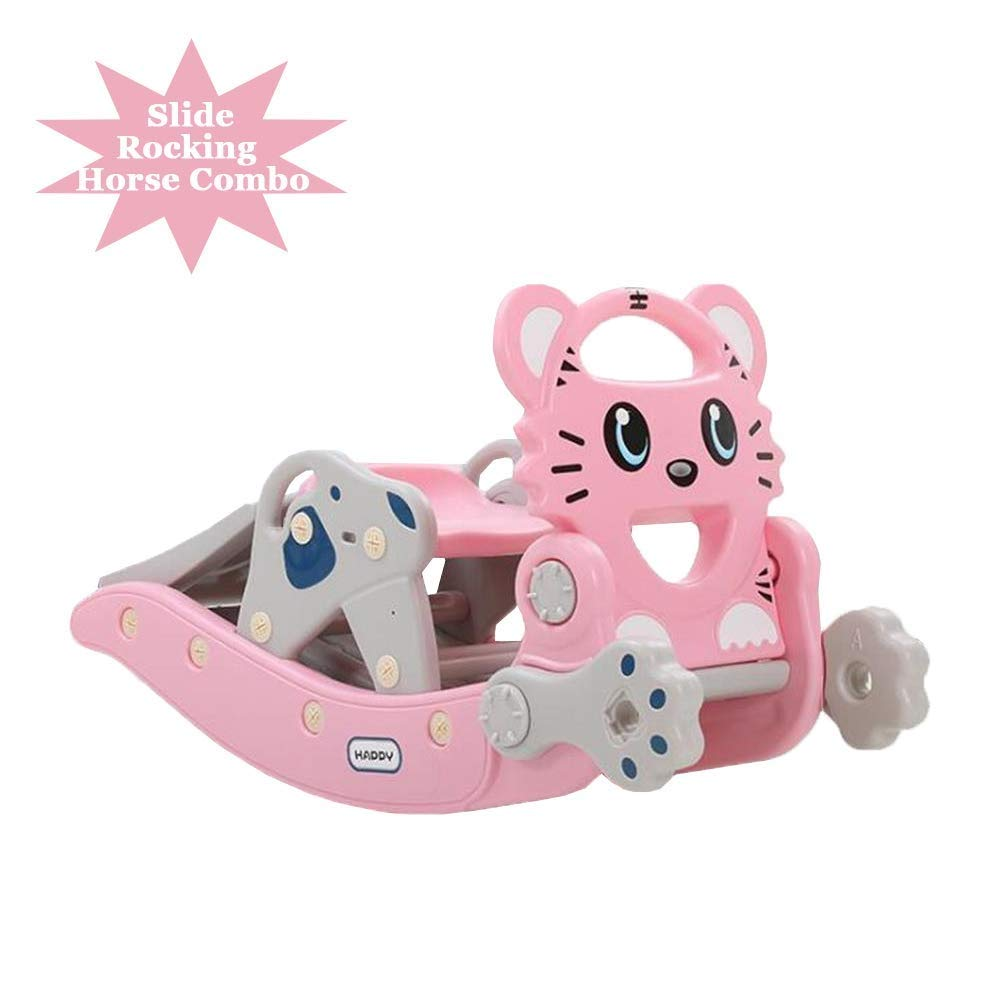 PNFP Children's Slide Rocking Horse Combination Kids Toy Shooting Indoor Outdoor Slide Garden Play Area,Suitable for 1-6 YearsOld Baby (Color : Pink) by PNFP