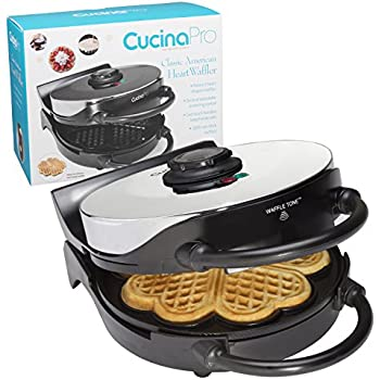 Heart Waffle Maker- Non-Stick 5-Heart Waffler Iron Griddle w Adjustable Browning Control- Beeps When Ready