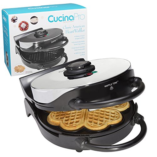 CucinaPro Heart Waffle Maker- Non-Stick 5-Heart Waffler Iron Griddle w Adjustable Browning...