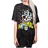 AISKLY Summer Fashion Women Casual T Shirt Punk Sleeve Printed Couple Tops