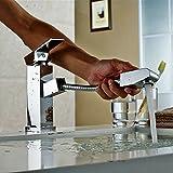 Hiendure™ 360 Degree Swivel One Single Handle Centerset Pull Out Bathroom Sink Faucet with Sprayer Chrome Pull Down Bath Tub Faucet Unique Designer Vanity Plumbing Fixtures Roman Tub Faucets Lavatory Glacier Bay Faucets
