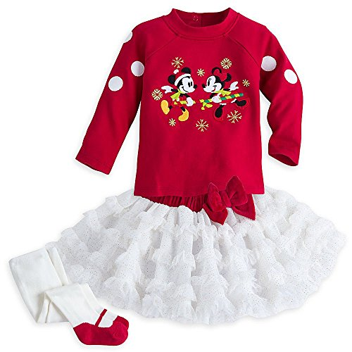 Disney Store Mickey and Minnie Mouse Holiday Christmas Tutu Skirt Outfit For Baby Girl, 0-3 months