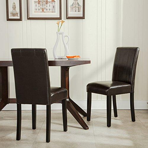 Belleze Elegant Kitchen Dinette Dining Room Chair Design Leather Backrest, (Set of 2) Brown Brown Dinette