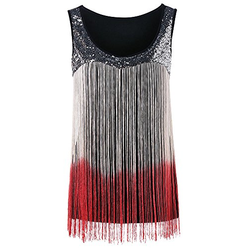 2018 Summer Women's Sequined Tank Top with Spaghetti Strap Fringe Cami Shirts Fringed (Red, (Fringe Cami)