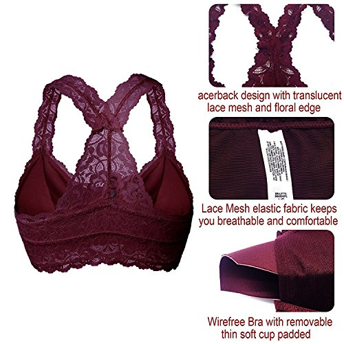 888ac936c5966 YIANNA Women Floral Lace Bralette Padded Breathable Racerback Lace Bra  Bustier