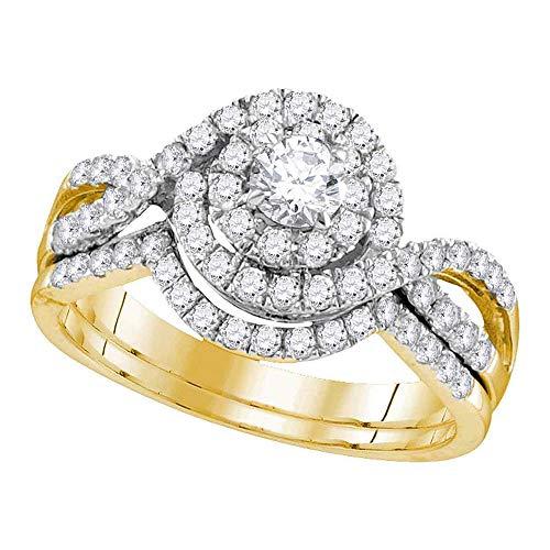 Diamond Swirl Engagement Ring + Wedding Band Bridal Set 1.00ct (Certified) 14k Yellow Gold ()