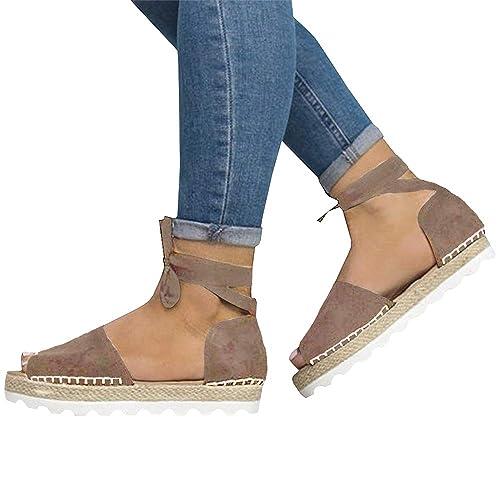 849318858 Xiakolaka Womens Espadrille Ankle Wrap Flat Sandals Peep Toe Shoes Khaki 38