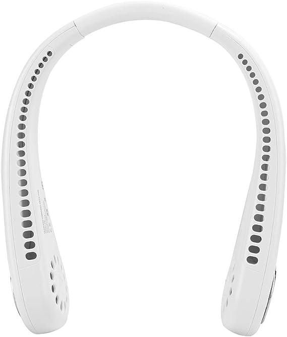 リーフレスネックハンギングファンファン、サイレント3倍速充電式屋外アクティビティ(white)