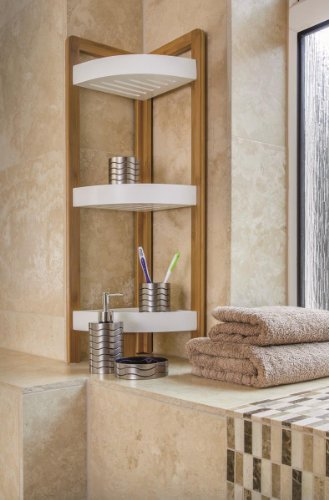 Amazon.com: BAMBOO 3 TIER BATHROOM FREE STANDING SHOWER CORNER CADDY ...
