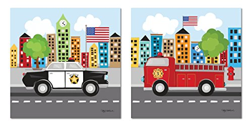 Gango Home Décor Popular Fire Truck and Police Car; Great for a Childs Room or Nursery; Two 12x12in Poster Print (Fire Truck Wall Decor)