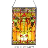 HF-55 Tiffany Style Stained Glass Royal Luxury Rectangle Window Hanging Glass Panel Sun Catcher, 31.5''Hx20''W