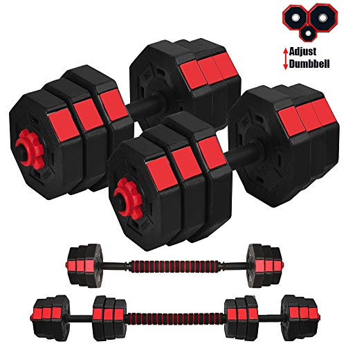 WATMAID Dumbbells Weights Set Adjustable Weight to 44Lbs, Free Weight Sets with Connecting Rods, Used as Barbell Set Gym…