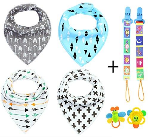 zzlay-baby-bandana-bibs-set-4-pack-2-teeth-toys-2-pacifier-chain-clip-adjustable-snaps-100-organic-c