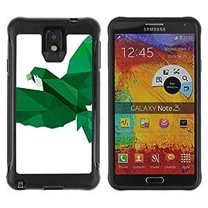 "Hypernova Defender Series TPU protection Cas Case Coque pour SAMSUNG Galaxy Note 3 III / N9000 / N9005 [Loro Pájaro Blanco Verde Vuelo""]"