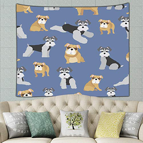 wrtgerht Dogs on Blue Animal Animals Wildlife Schnauzer Tapestry Wall Tapestry Bohemian Wall Hanging Tapestries Wall Blanket Wall Art Wall Decor Beach Tapestry Tapestry Wall Decor 50ʺ × 60ʺ