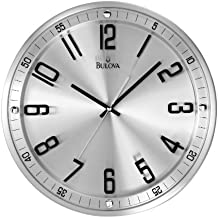 Bulova C4646 Silhouette Clock, Brushed Stainless Steel Finish