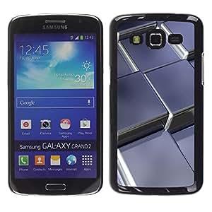 LECELL -- Funda protectora / Cubierta / Piel For Samsung Galaxy Grand 2 SM-G7102 SM-G7105 -- Abstract Metal Cubes --