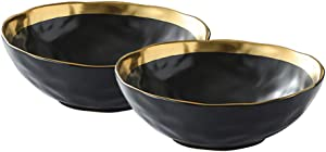 NEW RUICHENG Ceramic Bowl, Cereal Bowls High-grade K Gold Coating Rice Bowl Set 7 OZ/ 7.5 Inch Durable Reusable, Microwave and Dishwasher Safe, for /Soup/Side Dishes/Salad/Fruit Snack Bowl Set of 2