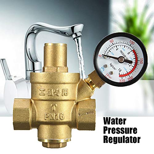 - Water Pressure Reducing Valve, Maserfaliw 1/2inch Brass Water Pressure Reducing Regulator Valve Reducer Gauge Meter Tool, A Must-Have Tool For Home, Can Be Used As A Holiday Gift.