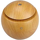 QuiCi Wooden Oil Diffuser Humidifier, LED Light Touch Ultrasonic Aroma Diffuser Cool Mist Humidifier USB Air Purifier for Office Home Bedroom Living Room Baby Room Study Yoga Spa (Brown)