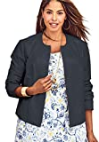 Jessica London Women's Plus Size Crop Leather Jacket Navy,30 W