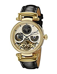 Stuhrling Original Men's 353A.333531 Special Reserve Emperor Magistrate Automatic Skeleton Dual Time Zone Gold Tone Watch
