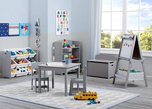 51CKomY1GSL - Delta Children MySize Deluxe Toy Box, Grey