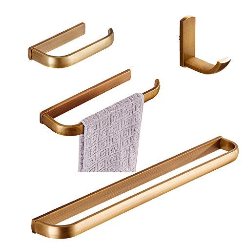 BigBig Hoom 4-Piece Brass Bathroom Accessory Set, Antique Brass Finish Towel Bar Toilet Paper Holder Towel Ring Towel Hook Wall Mount. by BigBig Home