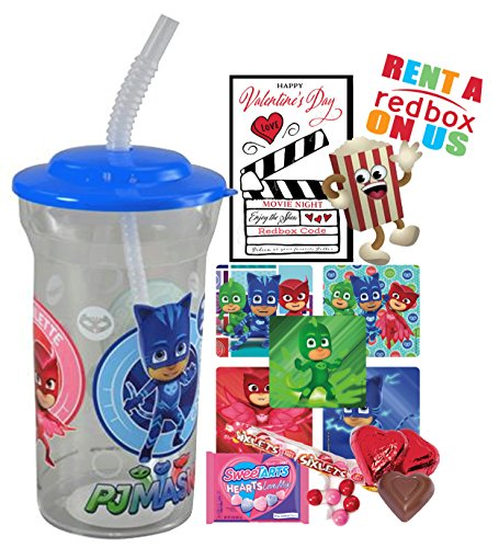 (Pj Masks Valentines Day Redbox Movie Night Fun Sip Favor Cup! Pre-Filled & Ready For Giving! Includes Keepsake Tumbler, Redbox Rental, Popcorn, Candy & Favors!)