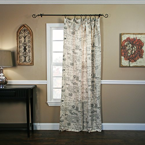 (Ellis Curtain Script Crushed Taffeta Tailored Panel, Black, 48