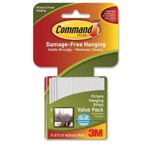 Command 3M 12ct Pack Picture & Frame Hanging Strips Sets Medium Size White - Heavy Duty Stick Velcro