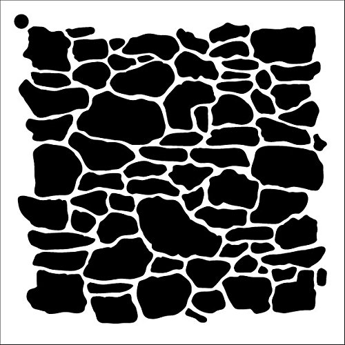 (Stone Wall Stencil by StudioR12 | Repeating Pattern Art - Medium Reusable Mylar Template | Painting, Chalk, Mixed Media | Use for Crafting, DIY Home Decor - STCL1019 SELECT SIZE)