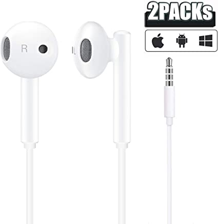 Amazon Com Samsung Apple Earbuds 2 Pack Wired 3 5mm White Headset With Microphone Volume Control And Call Answer End Button For Iphone Ipad Samsung Compter Mp3 4 Android Phone Etc Apple Mfi Certified
