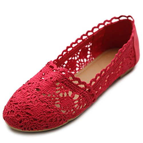 Ollio Womens Shoe Lace Ballet Breathable Flat(8.5 B(M) US, Red) (Red Lace Flats Shoes Women)