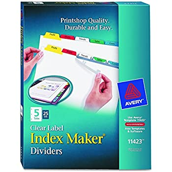 Amazon Avery Index Maker Clear Label Dividers Easy Apply