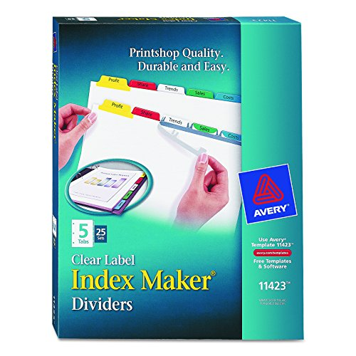 New Avery Index Maker Clear Label Dividers, Easy Apply Label Strip, 5-Tab, Multi-Color, 25 Sets (11423) hot sale
