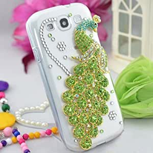 Handmade Clear Transparent Crystal Bling Rhinestone Green Peacock Back Case Cover for Samsung Galaxy S3 i9300 by Phone Care
