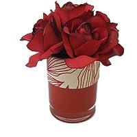 Dekoratif Çiçek Camda Kırmızı Gül