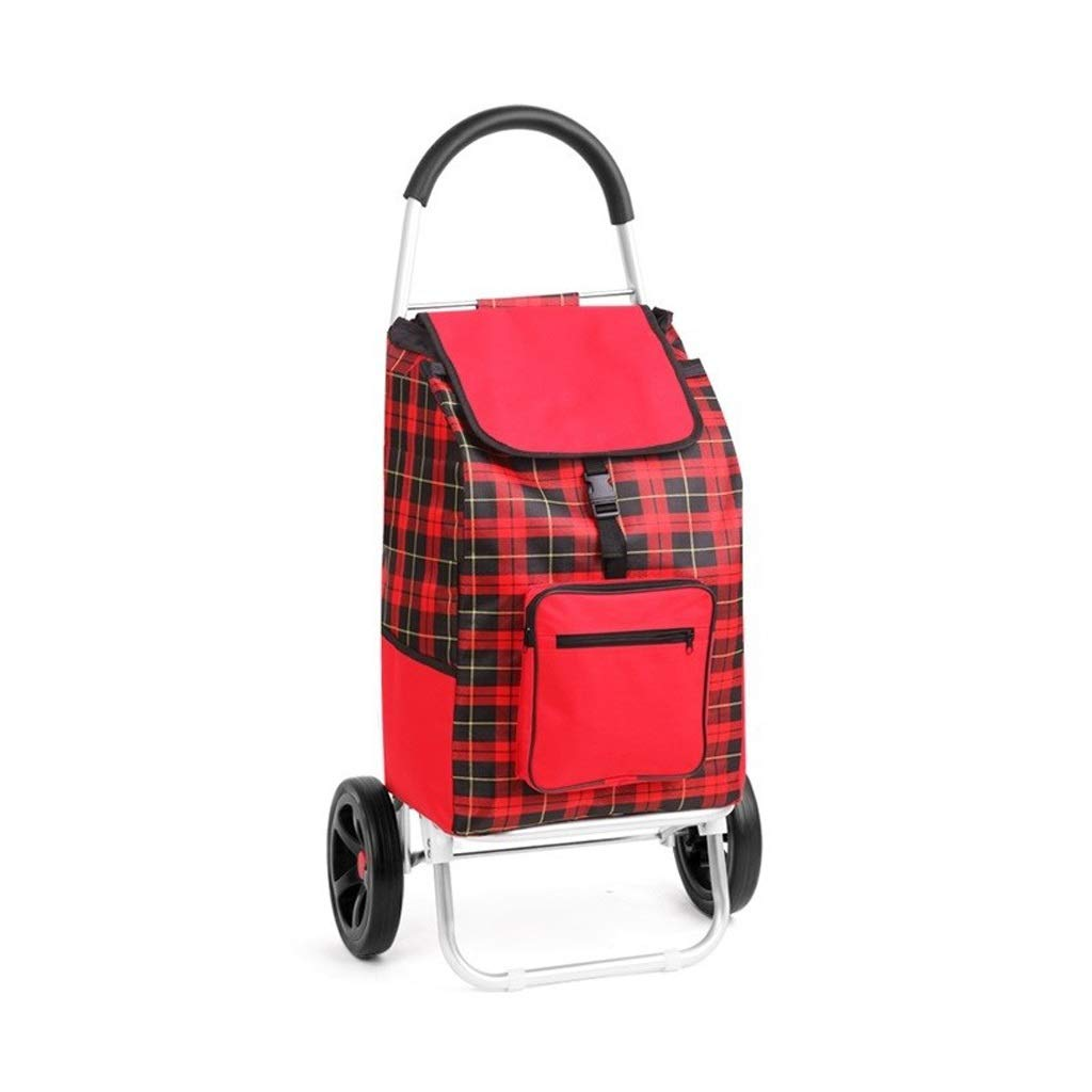 Bmwjrzd Shopping Trolley - Large Capacity Portable Small Cart - Foldable - Easy to Climb Stairs -Luggage Grocery Cart - Unisex - Big Red