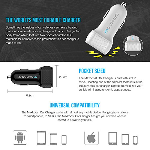 Car Charger, Maxboost 4.8A/24W 2 USB Smart Port Car Charger [White/Grey] For iPhone X 7 6S 6 Plus,SE 5S 5 5C,iPod,Galaxy S9 S8 S7 S6 Active,Note,LG G6 G5,HTC,Nexus 5X 6P,Pixel 2 XL,iPad Mini Air Pro by Maxboost (Image #6)