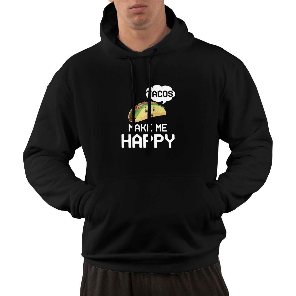 Tacos Make Me Happy Love Food Funny Hip Hop Fashion Pocket Hooded Li Shirts