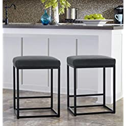 Kitchen MAISON ARTS Counter Height Bar Stools Set of 2 for Kitchen Counter Backless Industrial Stool Modern Upholstered Barstool… modern barstools