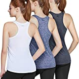 TSLA Women's Workout Tank Tops, Athletic Exercise Gym Yoga Tank Top, Active Dry Fit Running Summer Tanks, V Neck 1pack(fuv06) - Navy, X-Small