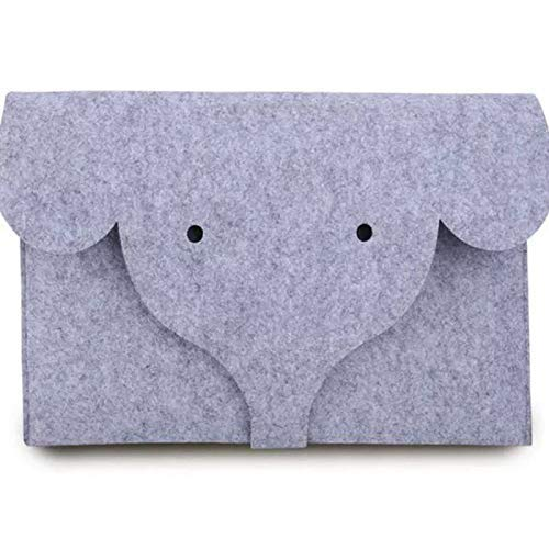 Cisky 13.3 Inch Felt Laptop Sleeve Case Elephant Flannel-Lined with Pouch for MacBook 13