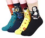 Womens Art Patterned Casual Crew Socks-Famous Painting Collection,Master,One Size