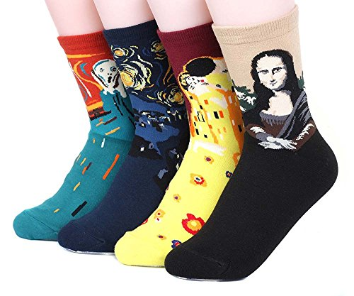 Womens Art Patterned Casual Crew Socks - Famous Painting Collection 4 Pack, Assorted, One (Casual Socks Set)