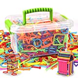 Building Sticks 300pcs Early Educational Toy Gift DIY Colorful Blocks Sticks Stacking Toys Toddlers Preschool Boys ANG Girls, Age Over 3