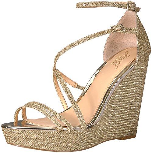 Badgley Mischka Jewel Women's Tatsu Wedge Sandal, Gold, 8 Me